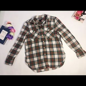 J. Crew green red checked plaid buttoned shirt 4